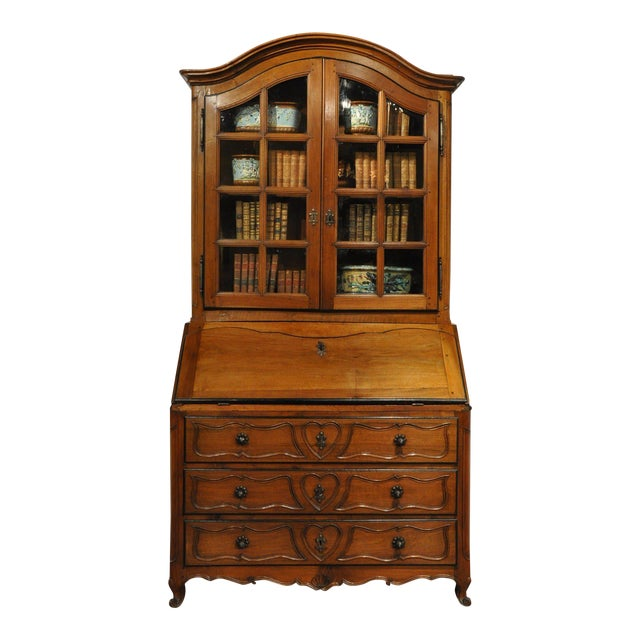 18th Century French Louis XV Carved Walnut Secretary Bookcase For Sale