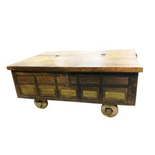 Antique Indian Chest on Wheels Coffee Table For Sale