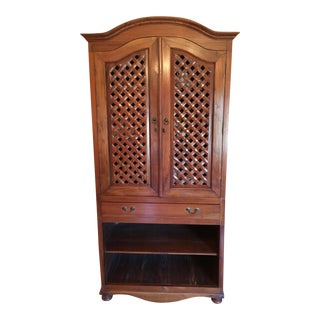 20th Century Indonesian Wood Lattice Armoire For Sale