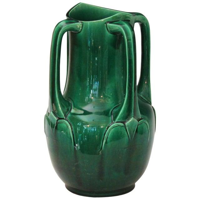 Awaji Pottery Art Nouveau Four Handle Buttress Vase For Sale - Image 9 of 9