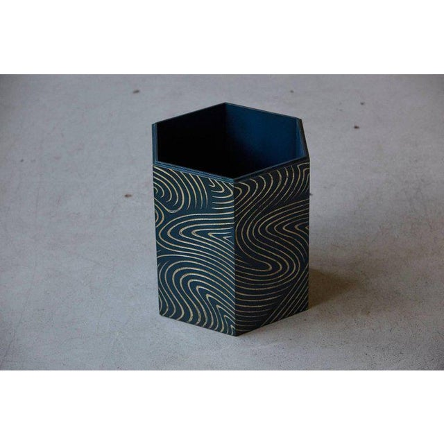 Abstract Hexagonal Dark Blue Box With Carved Gilded Graphic Pattern For Sale - Image 3 of 9