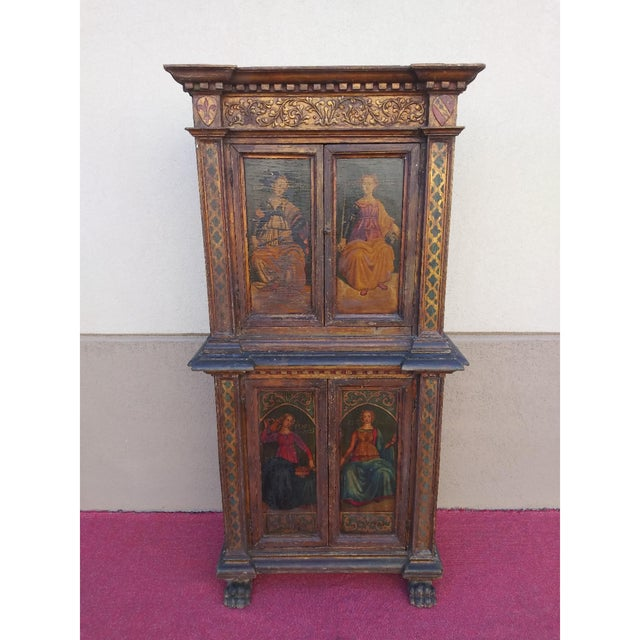 19th Century Italian Hand Painted Polychromed Giltwood Claw Footed 2 Piece Cupboard For Sale - Image 13 of 13