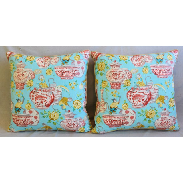 Pair of large custom-tailored Asian chinoiserie linen pillows in a beautiful traditional Asian chinoiserie design...