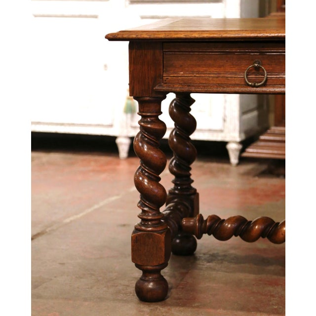 Late 19th Century 19th Century French Louis XIII Carved Oak Barley Twist Table Desk For Sale - Image 5 of 13