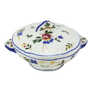 1930s Gien French Hand-Painted Faience Tureen For Sale