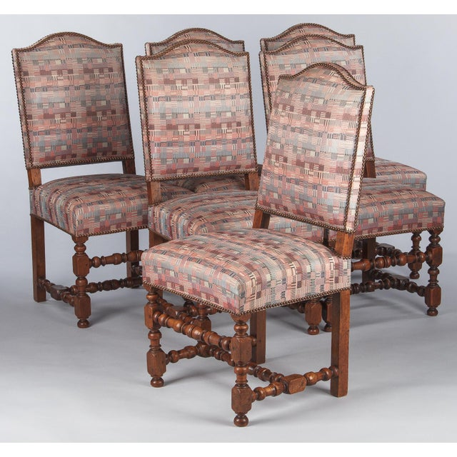 1920s Louis XIII Style Upholstered Walnut Chairs - Set of 6 For Sale - Image 10 of 13