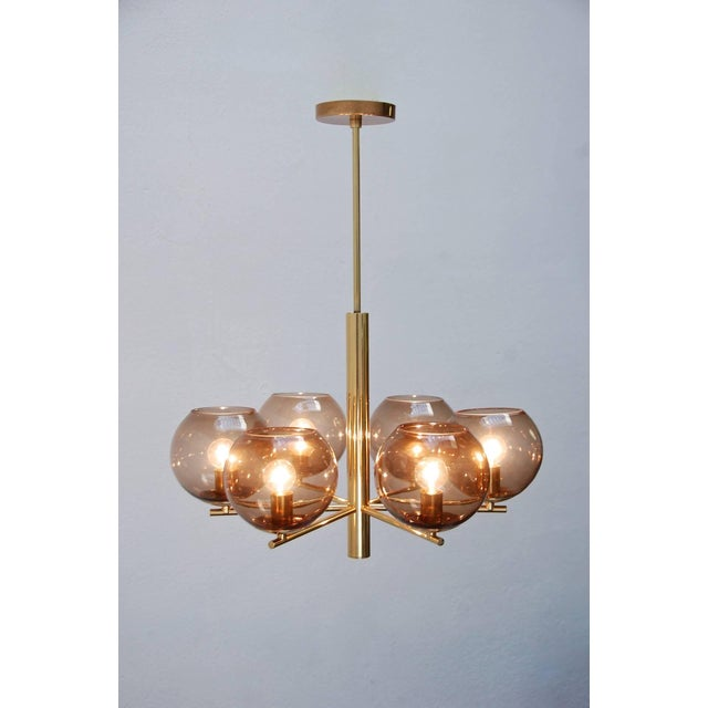 "Elegantly Classic Mid-Century German globe chandelier with six charcoal handblown glass shades. Drop: 23""."