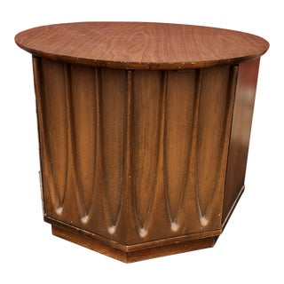 1960s Mid Century Modern Round End Table With Storage Cabinet For Sale