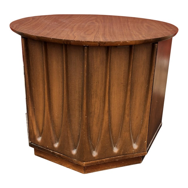 Image of 1960s Mid Century Modern Round End Table With Storage Cabinet