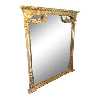 Vintage Oversized Gold Carved Mirror For Sale