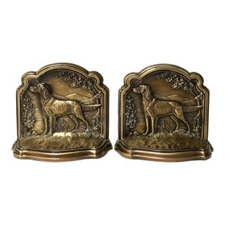 Pair of Vintage Brass Bookends of Setter Dogs For Sale