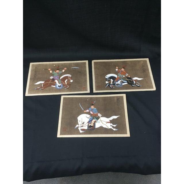 Antique Korean Silk Paintings - Set of 3 - Image 2 of 7