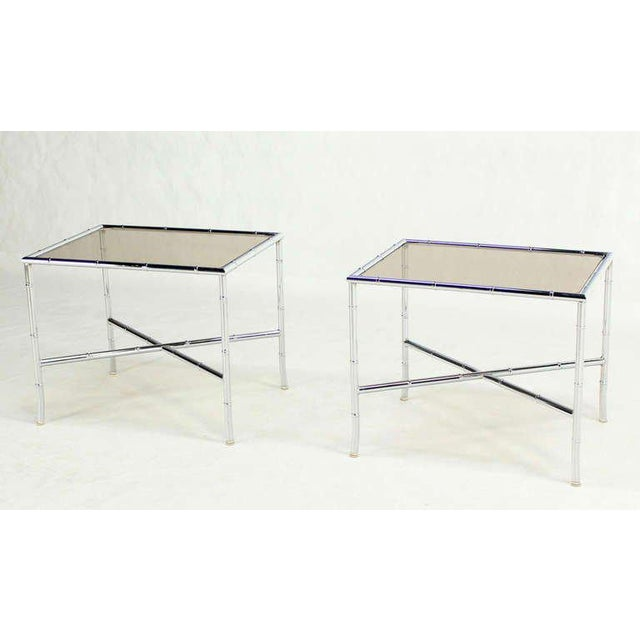 Silver Pair of Faux Bamboo Chrome and Smoked Glass End Tables For Sale - Image 8 of 10