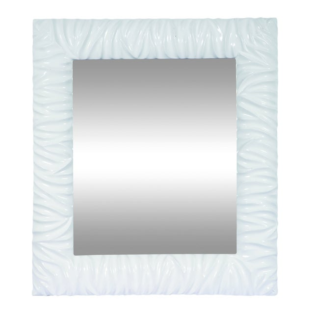 Wood Rectangle White Wall Mirror For Sale