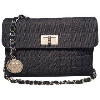 Chanel Square Quilted Denim Convertible Bum Bag Waist Pouch Clutch Shoulder Bag For Sale