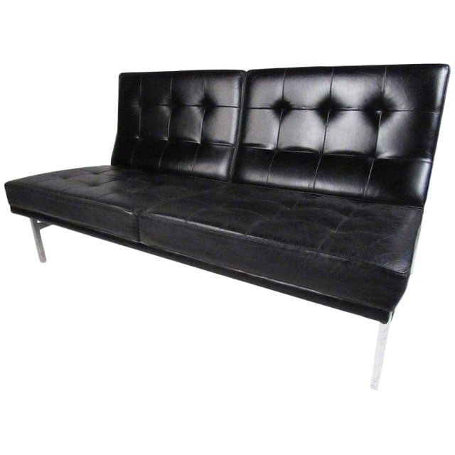 Early Knoll Tufted Leather Armless Sofa | Chairish