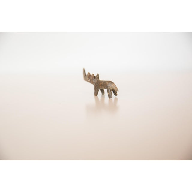 African Vintage African Mini Tinted Bronze Rhino For Sale - Image 3 of 5