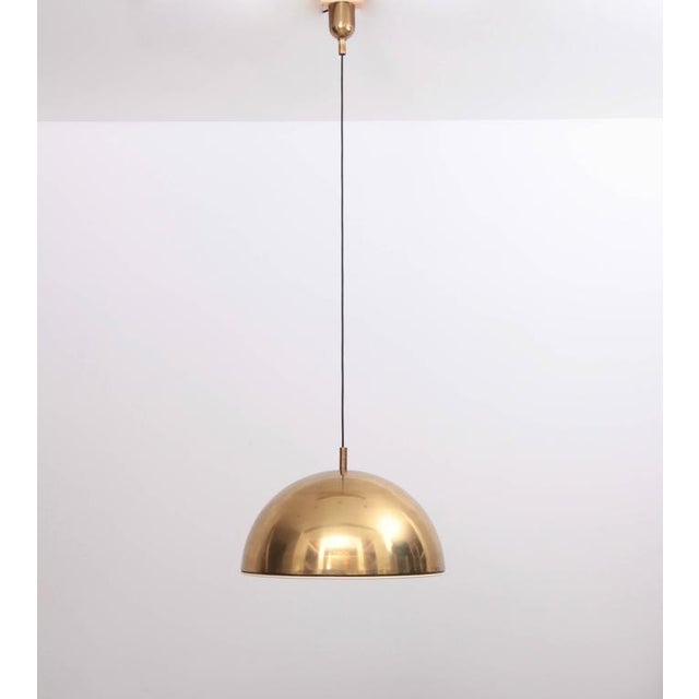 Huge Brass Pendant Lamp from 1960s Italy with White Enamel Inner Shade For Sale - Image 4 of 9