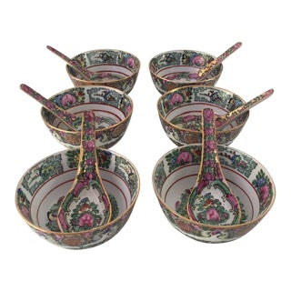 1970s Asian Modern Hand Painted Rose Medallion Rice Bowls & Spoons - 12 Pieces