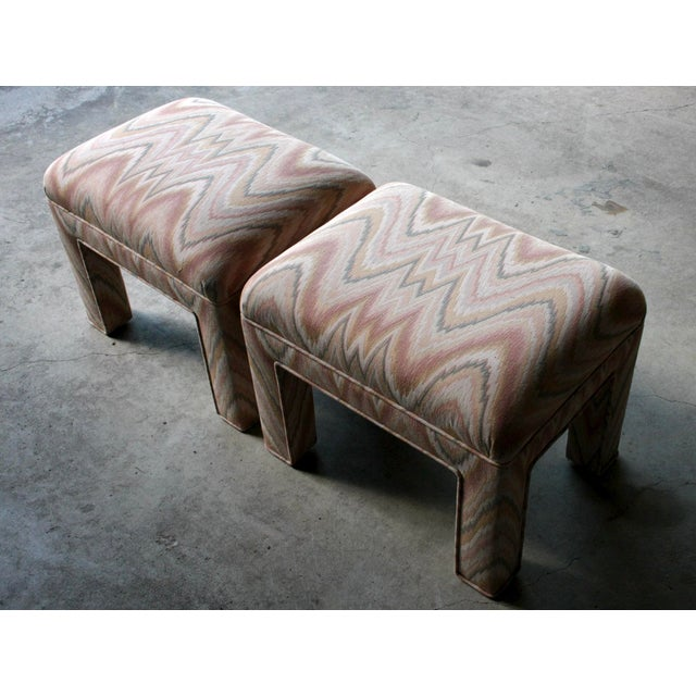 Blue 1980s Contemporary Flamestitch Parsons Ottomans, a Pair For Sale - Image 8 of 10