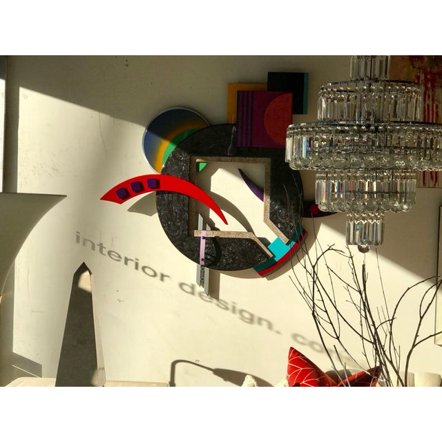 A very high end 1980s Memphis style wall sculpture, designed by artist C., French, 1997. This amazing piece of art...
