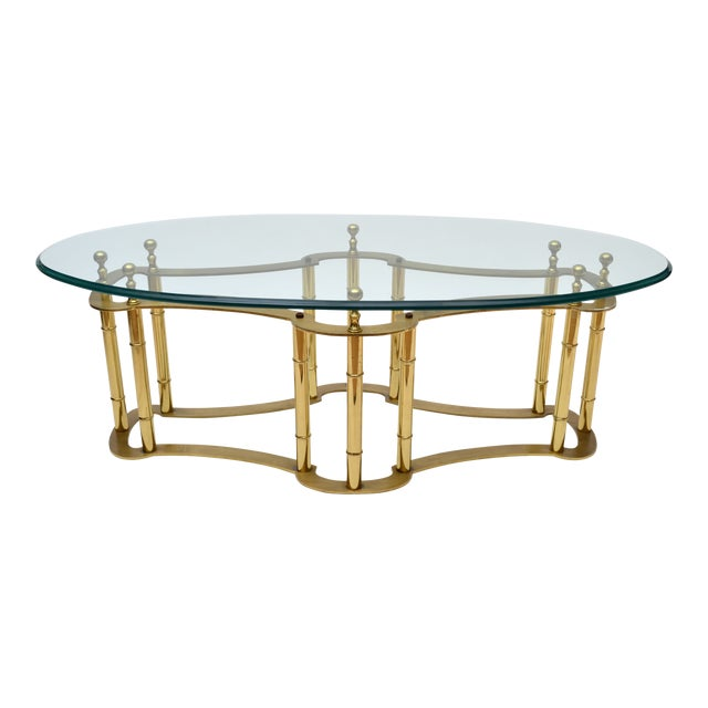 Mastercraft Brass Coffee Table with Oval Glass Top For Sale