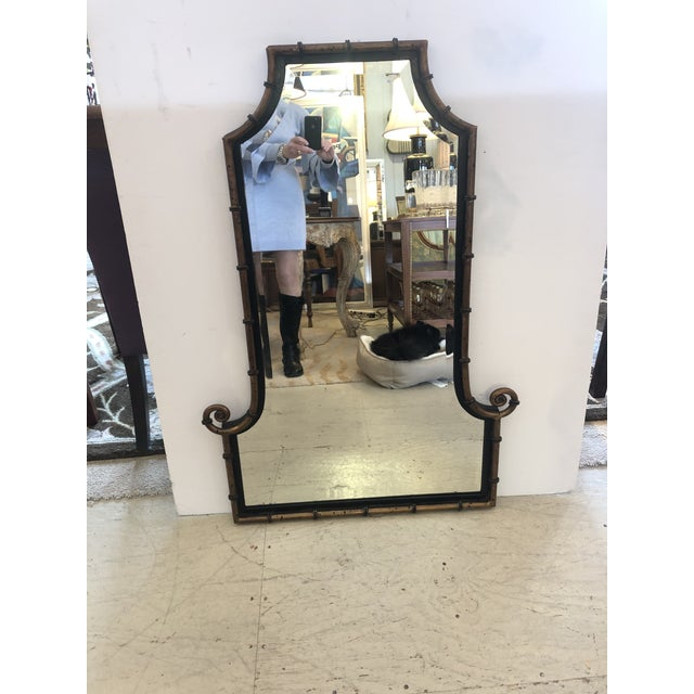 Metal Pagoda Style Bronze Patina and Black Mirror For Sale - Image 7 of 7
