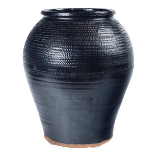 Asian Black Glaze Ceramic Storage Jar, 20th Century For Sale