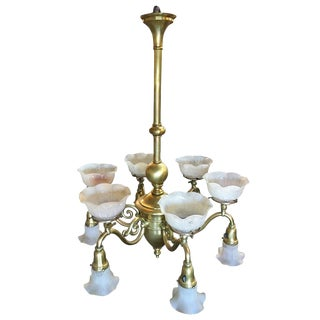 Late Victorian Cast Brass Transitional Six-Arm Gas and Electric Chandelier For Sale