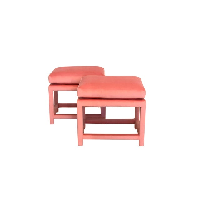 Check out these luscious bubble gum pink parsons stools. Will go in any room for extra seating or a place to rest your...
