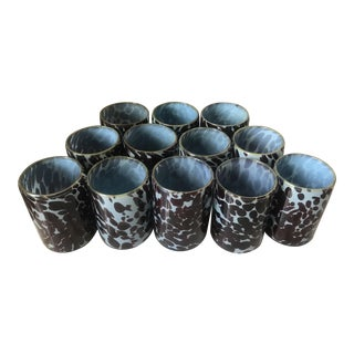 Hand Blown Blue Tortoise Glass Cocktail Tumblers - Set of 12 For Sale