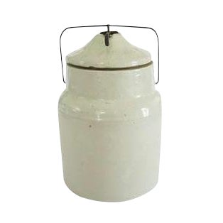 Vintage White Stoneware Kitchen Jar Crock with Clamp Lid - Image 1 of 2