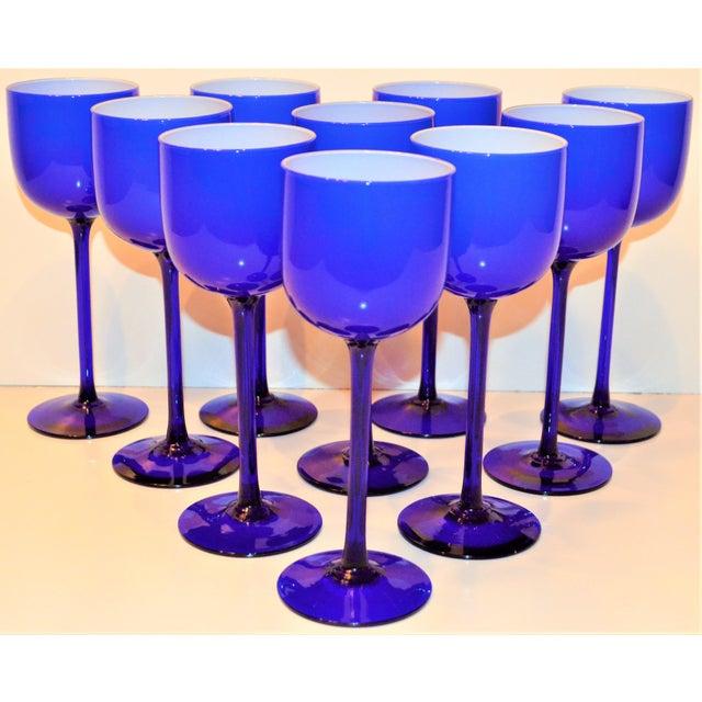 Glass Carlo Moretti White Cased Cobalt Stemware - Set of 10 For Sale - Image 7 of 9