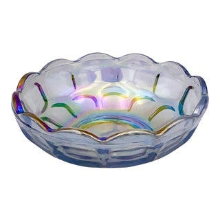1960s Federal Glass Smoke Grey Iridescent Dish For Sale