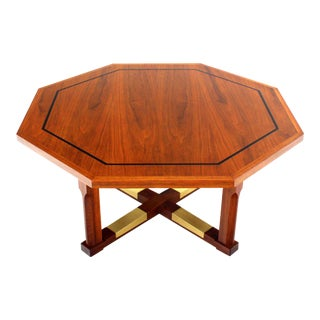 Mid Century Modern Walnut Hexagon Coffee Table with X-Base For Sale