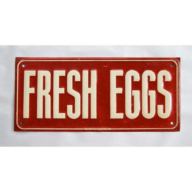 1940s Vintage Metal Fresh Eggs Sign For Sale - Image 5 of 5