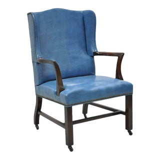1950s Vintage Blue Leather Mahogany Sloane Office Desk Library Wing Chair For Sale