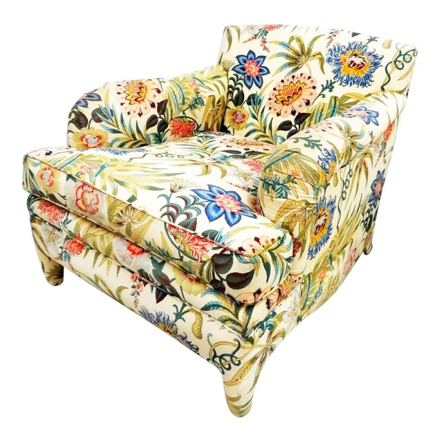 Last Call Mid-Century Modern Jacobean Chintz Armchair For Sale
