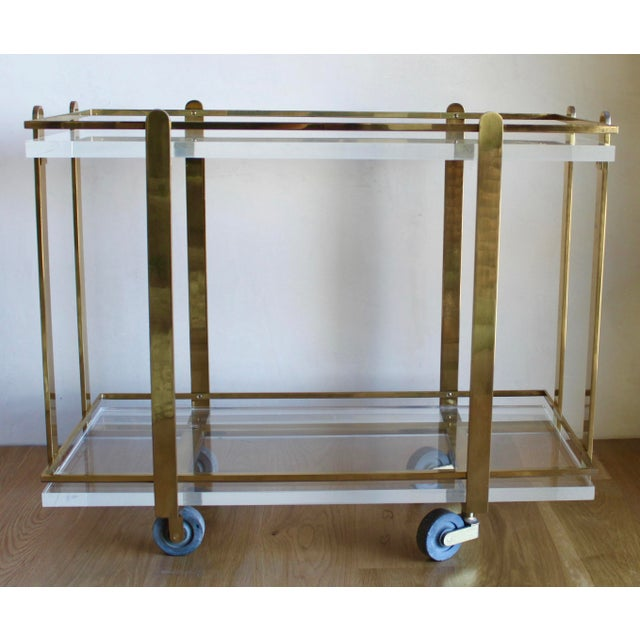 Karl Springer Extremely Rare Karl Springer Custom Ordered Mid Century Modern Heavy Brass and Lucite Bar Serving Cart Table For Sale - Image 4 of 12