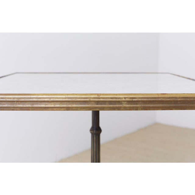 French Bronzed Iron and Faux Marble Bistro Table For Sale - Image 9 of 13
