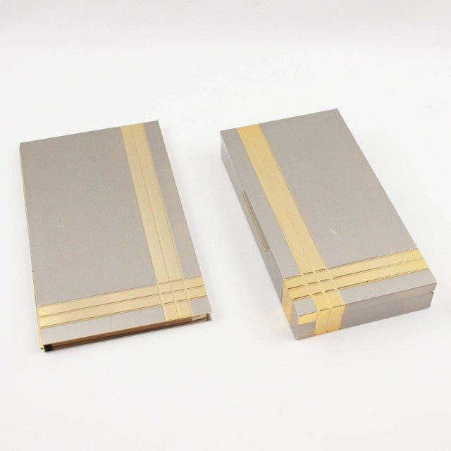 Italian Noel b.c. 1970s Modernist Metal Box and Contact Book Desk Set For Sale - Image 9 of 10