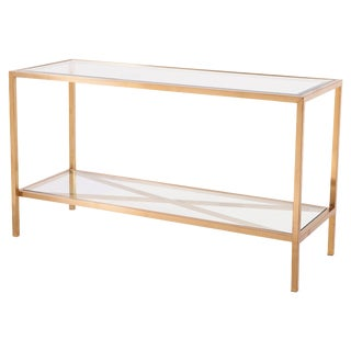 Gold Console Table With Glass Shelves
