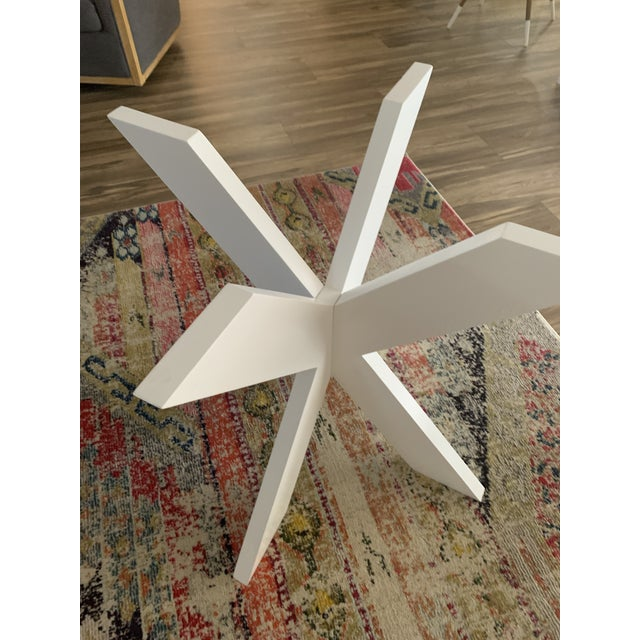Glass White Lacquer X Table Base For Sale - Image 7 of 13