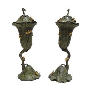 Green Bronze Metal Lotus Frog Display - A Pair For Sale