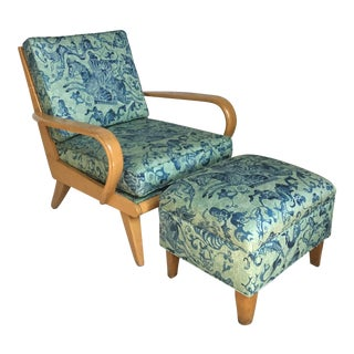Heywood Wakefield Upholstered Lounge Chair and Ottoman