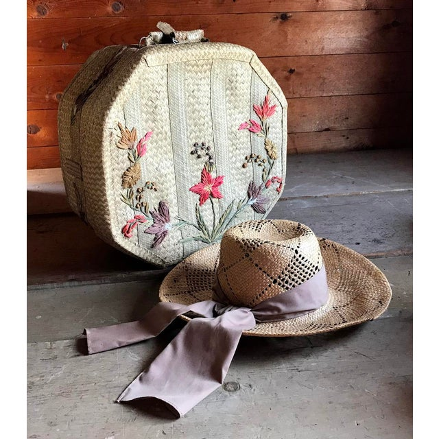 1970s Straw Hat and Woven Hat Box, Boho Fashion For Sale - Image 10 of 10