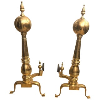 Pair of Large Georgian Style Brass Andirons For Sale