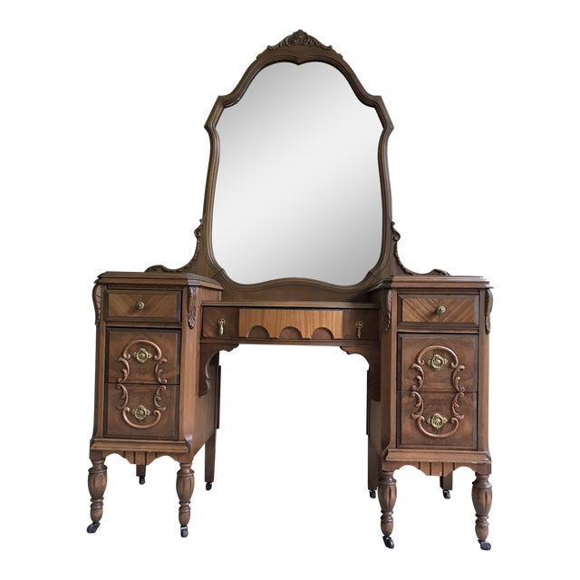 Antique Mirrored Dressing Table With Burled and Zebra Woods For Sale