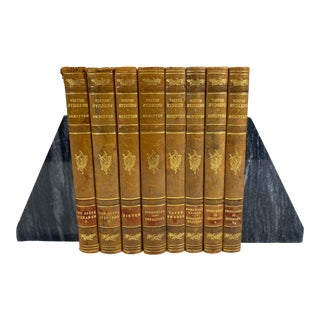 1929 Antique Swedish Leather Books - Set of 6 For Sale