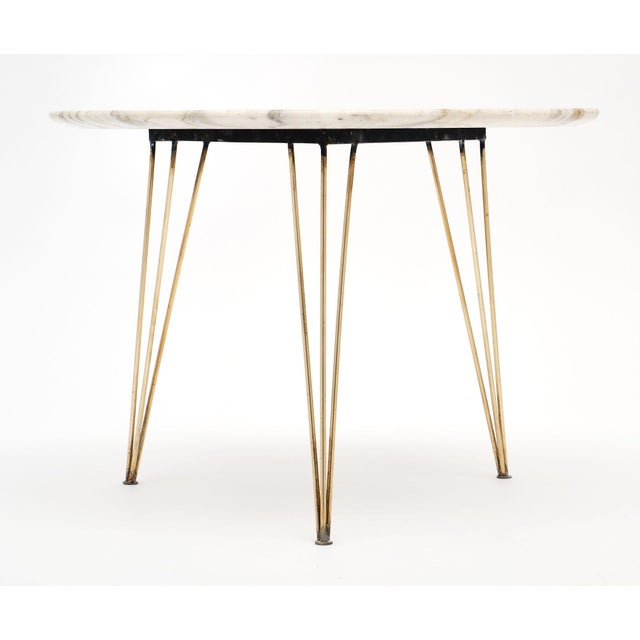 Metal Vintage Mid-Century Italian Marble Top Table For Sale - Image 7 of 10